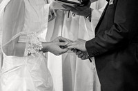 Exchanging the rings - wedding photographer somerset