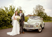 Bride and Groom with their wedding Car - wedding photographs somerset
