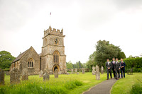 The goom and ushers at the church in Chetnole Dorset - wedding photographers somerset